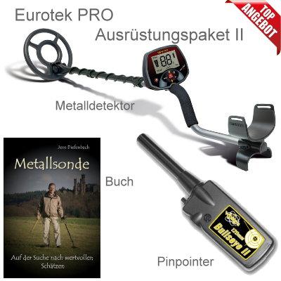 Teknetics Eurotek PRO (LTE) Ausrüstungspaket II (Metalldetektor & Pinpointer Whites & Schatzsucherhandbuch)